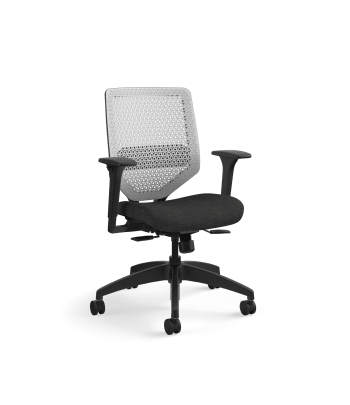 HON Solve Mid-Back Task Chair | Titanium ReActiv Back | Black Frame | Easy Assembly | Ink Seat Fabric