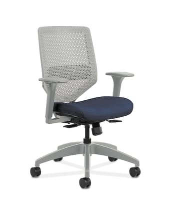 HON Solve Mid-Back Task Chair | Titanium ReActiv Back | Black Frame | Easy Assembly | Midnight Seat Fabric