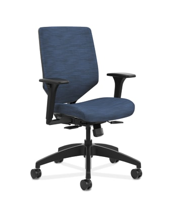 HON Solve Mid-Back Task Chair | Upholstered Charcoal ReActiv Back | Black Frame | Easy Assembly | Midnight Seat Fabric