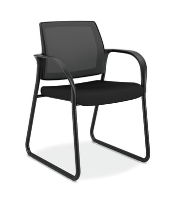 HON Ignition Multi-Purpose Chair | Sled Base | Fixed Arms | Glides | Black 4-way stretch Mesh Back | Black Seat Fabric | Black Frame