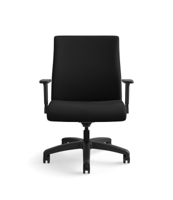 HON Ignition Big and Tall Chair | Height- and Width-Adjustable Arms | All Surface Casters | Upholstered Back | Black Seat Fabric | Standard Base | Black Frame