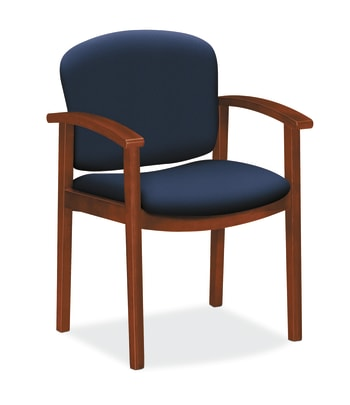 HON Invitation Guest Chair | Fixed Arms | Wood Frame | Cognac Finish | Navy Fabric