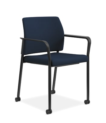 HON Accommodate Guest Chair | Fixed Arms | Casters and Glides | Navy Fabric | Textured Black Frame