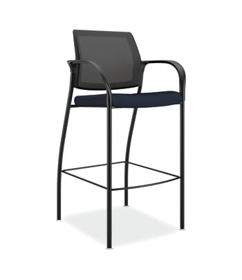 HON Ignition Cafe Height 4-Leg Stool | Fixed Arms | Glides | Black 4-way stretch Mesh Back | Navy Seat Fabric | Black Frame