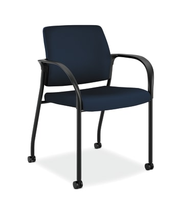 HON Ignition Multi-Purpose Stacking Chair | 4-Leg | Fixed Arms | All Surface Casters | Upholstered Back | Navy Fabric | Black Frame