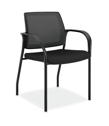 HON Ignition Multi-Purpose Stacking Chair | 4-Leg | Fixed Arms | Glides | Black 4-way stretch Mesh Back | Black Fabric | Black Frame