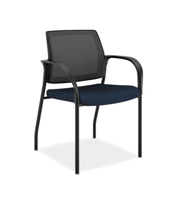 HON Ignition Multi-Purpose Stacking Chair | 4-Leg | Fixed Arms | Glides | Black 4-way stretch Mesh Back | Navy Fabric | Black Frame