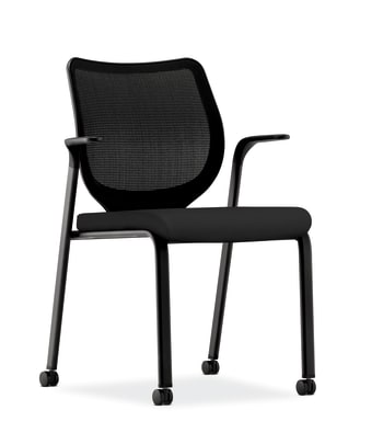 HON Nucleus Knit Mesh Back Stacking Chair   Fixed Arms   Casters   Black Mesh Back   Black Frame   Black Fabric