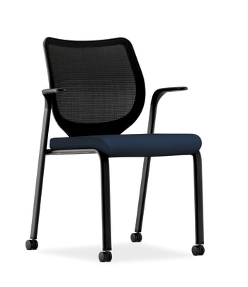 HON Nucleus Knit Mesh Back Stacking Chair   Fixed Arms   Casters   Black Mesh Back   Black Frame   Navy Fabric