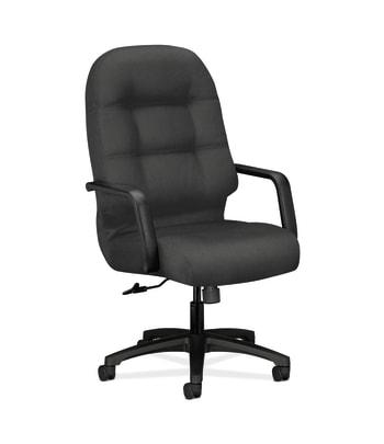 HON Pillow-Soft Executive High-Back Chair | Center-Tilt | Fixed Arms | Iron Ore Fabric