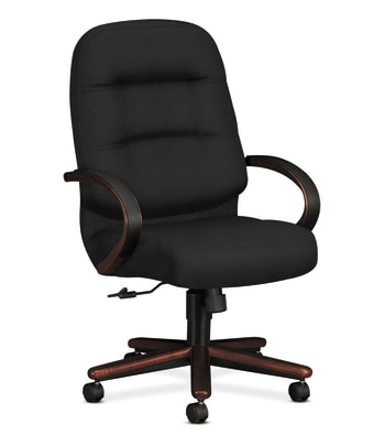 HON Pillow-Soft Executive High-Back Chair | Center-Tilt | Fixed Arms | Wood Trim | Black Fabric