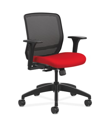 HON Quotient Mesh Back Task Chair | Synchro-Tilt | Adjustable Arms | Black Mesh | Ruby Fabric