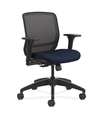 HON Quotient Mesh Back Task Chair | Synchro-Tilt | Adjustable Arms | Black Mesh | Navy Fabric