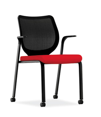 HON Nucleus Knit Mesh Back Stacking Chair | Fixed Arms | Casters | Black Mesh Back | Black Frame | Ruby Fabric