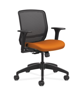 HON Quotient Mesh Back Task Chair | Synchro-Tilt | Adjustable Arms | Black Mesh | Apricot Fabric