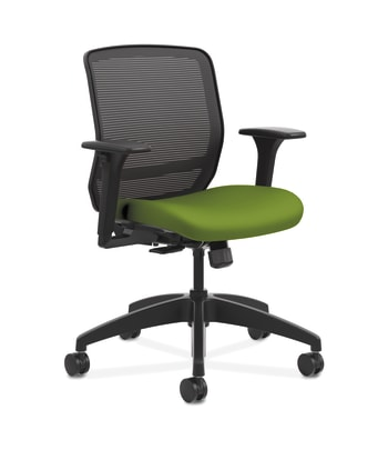HON Quotient Mesh Back Task Chair | Synchro-Tilt | Adjustable Arms | Black Mesh | Pear Fabric