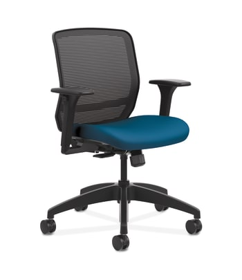 HON Quotient Mesh Back Task Chair | Synchro-Tilt | Adjustable Arms | Black Mesh | Peacock Fabric