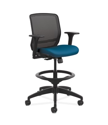 HON Quotient Mesh Back Task Stool | Synchro-Tilt | Adjustable Arms | Black Mesh | Peacock Fabric
