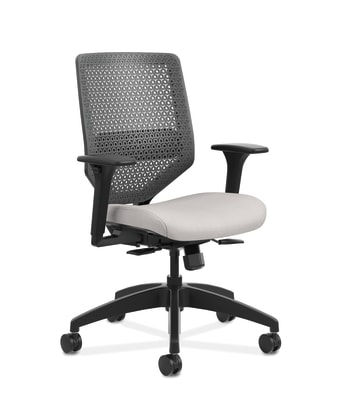 HON Solve Mid-Back Task Chair | Charcoal ReActiv Back | Black Frame |  Easy Assembly | Sterling Seat Fabric