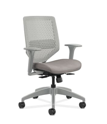 HON Solve Mid-Back Task Chair | Titanium ReActiv Back | Black Frame |  Easy Assembly | Sterling Seat Fabric
