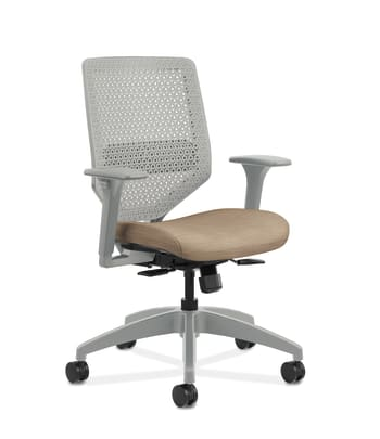 HON Solve Mid-Back Task Chair | Titanium ReActiv Back | Black Frame |  Easy Assembly | Putty Seat Fabric