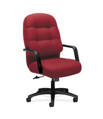HON Pillow-Soft Executive High-Back Chair | Center-Tilt | Fixed Arms | Marsala Fabric
