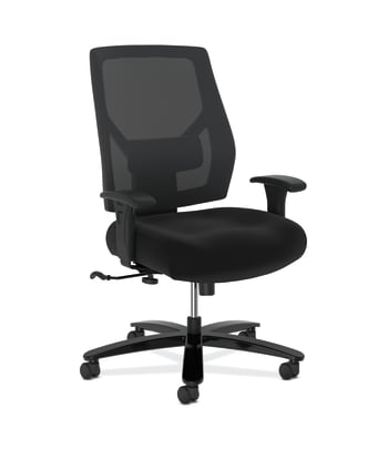 HON Crio High-Back Big And Tall Chair | Mesh Back | Adjustable Arms | Adjustable Lumbar | Black Fabric