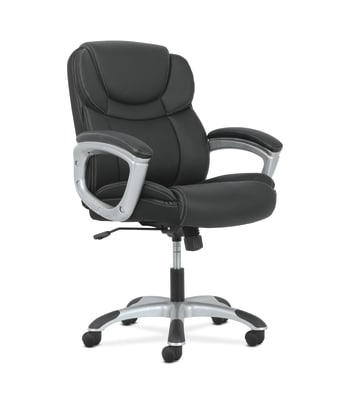 Sadie Mid-Back Executive Chair | Padded Arms | Black Leather | Silver Accents
