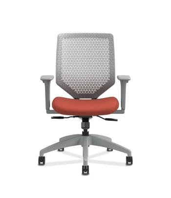 HON Solve Mid-Back Task Chair   Fog 4-way stretch Mesh Back   Titanium Frame    Bittersweet Seat Fabric