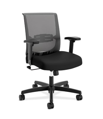 HON Convergence Task Chair | Swivel Tilt Control | Height-Adjustable Arms | Black Mesh and Seat Fabric