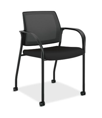 HON Ignition Multi-Purpose Stacking Chair | 4-Leg | Fixed Arms | Casters | Black 4-way stretch Mesh Back | Black Seat Fabric | Black Frame