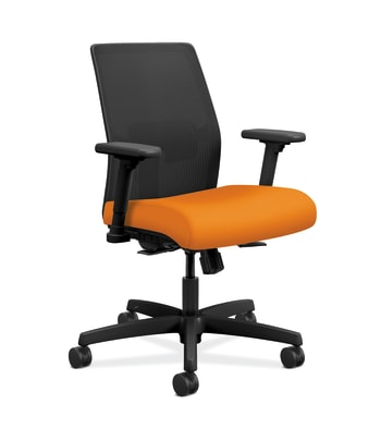 HON Ignition 2.0 4-way stretch Mesh Back Task Chair | Synchro-Tilt Control With Seat Slider | Height- and Width-Adjustable Arms | Adjustable Lumbar Support | Hard Casters | Black 4-way stretch Mesh Back | Apricot Seat Fabric | Black Frame