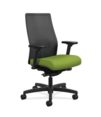 HON Ignition 2.0 4-way stretch Mesh Back Task Chair | Advanced Synchro-Tilt Control | Height- and Width-Adjustable Arms | Adjustable Lumbar Support | Hard Casters | Black 4-way stretch Mesh Back | Pear Seat Fabric | Standard Base | Black Frame