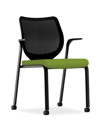 HON Nucleus Knit Mesh Back Stacking Chair | Fixed Arms | Casters | Black Mesh Back | Black Frame | Pear Fabric