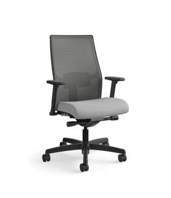 HON Ignition 2.0 Mid-Back Task Chair | Charcoal 4-way stretch Mesh Back | Easy Assembly | Frost Fabric