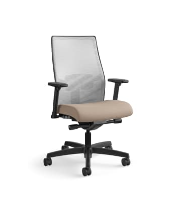 HON Ignition 2.0 Mid-Back Task Chair | Fog 4-way stretch Mesh Back |Easy Assembly |  Morel Fabric