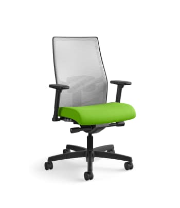HON Ignition 2.0 4-way stretch Mesh Back Task Chair | Advanced Synchro-Tilt Control | Height- and Width-Adjustable Arms | Adjustable Lumbar Support | Hard Casters | Fog 4-way stretch Mesh Back | Pear Seat Fabric | Standard Base | Black Frame