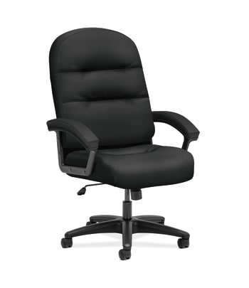HON Pillow-Soft Executive High-Back Chair | Fixed Arms | Black Fabric