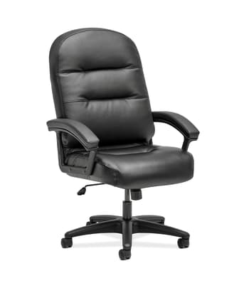 HON Pillow-Soft Executive High-Back Chair | Fixed Arms | Black SofThread Leather
