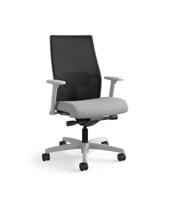 HON Ignition 2.0 Mid-Back Task Chair | Black 4-way stretch Mesh Back | Easy Assembly | Frost Fabric
