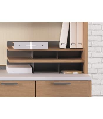 "HON Desktop Storage Terrace | 28-1/16""W | Harvest Laminate | Platinum Metallic Finish"