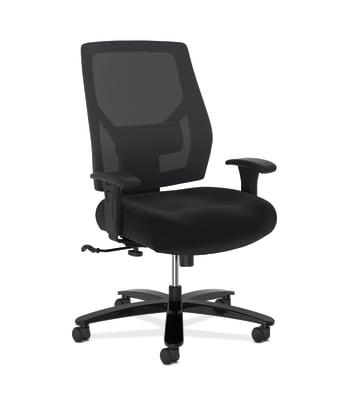 HON Crio High-Back Big And Tall Chair | Mesh Back | Adjustable Arms | Adjustable Lumbar | Black Leather