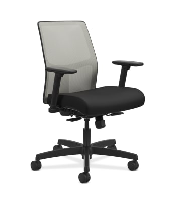 HON Ignition 2.0 4-way stretch Mesh Back Task Chair | Synchro-Tilt Control With Seat Slider | Height- and Width-Adjustable Arms | Hard Casters | Fog 4-way stretch Mesh Back | Black Seat Fabric | Black Frame