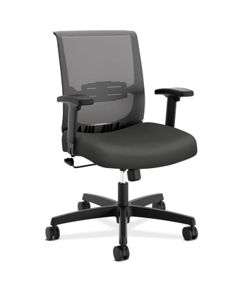 HON Convergence Task Chair | Swivel Tilt Control | Height- and Width-Adjustable Arms | Adjustable Lumbar Support | Iron Ore Fabric Seat