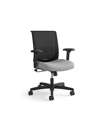 HON Convergence Task Chair | Swivel Tilt Control | Height- and Width-Adjustable Arms | Adjustable Lumbar Support | Frost Fabric Seat