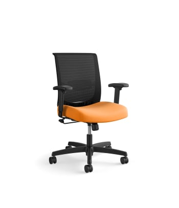 HON Convergence Task Chair | Swivel Tilt Control | Height- and Width-Adjustable Arms | Adjustable Lumbar Support | Apricot Fabric Seat