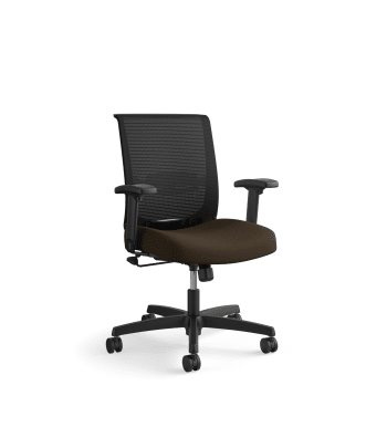 HON Convergence Task Chair | Swivel Tilt Control | Height- and Width-Adjustable Arms | Adjustable Lumbar Support | Espresso Fabric Seat