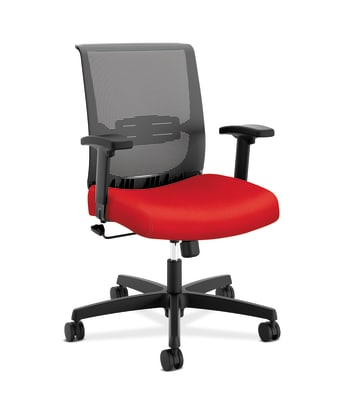 HON Convergence Task Chair | Swivel Tilt Control | Height- and Width-Adjustable Arms | Adjustable Lumbar Support | Ruby Fabric Seat