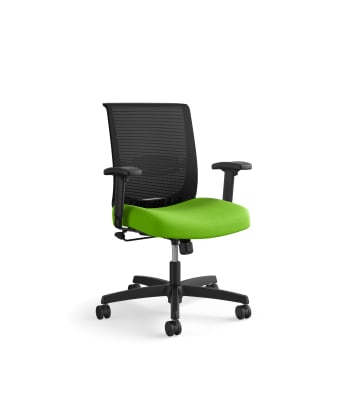 HON Convergence Task Chair | Swivel Tilt Control | Height- and Width-Adjustable Arms | Adjustable Lumbar Support | Pear Fabric Seat