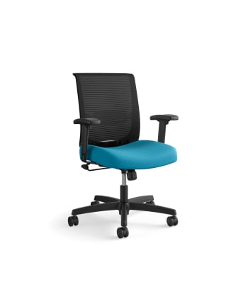 HON Convergence Task Chair | Swivel Tilt Control | Height- and Width-Adjustable Arms | Adjustable Lumbar Support | Peacock Fabric Seat